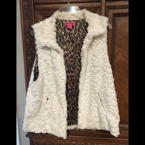 Betsey Johnson White Furry with Cheetah Vest